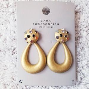 Zara Embellished Hoop Earrings Studded Dangle
